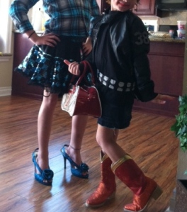 KK's Daughter and C.J. having a fashion show