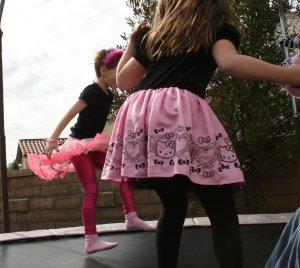 We hadn't intended for jumping on the trampoline to be a part of the party, but it's hard to resist a good bounce.