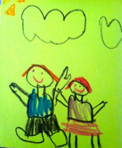 C.J.'s birthday present to his brother was this picture of the two of them.  C.J. is the one in the skirt.
