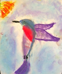 C.J. made this at his fine art summer camp today.  He says it's the best picture that he's ever done.  I agree.