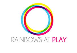 Rainbows at Play logo - overlapping teal, yellow, and red circles