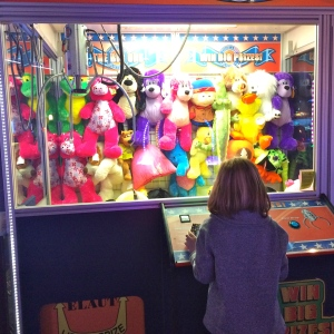 The biggest claw machine in Orange County...and obviously his favorite. Today he won three out of four times.